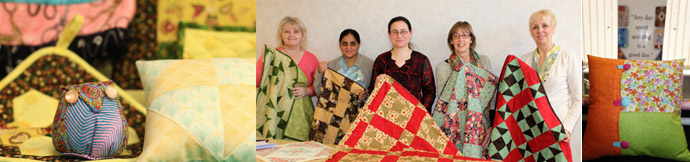 Learn how to make quilts, cushions, patchwork items with our patchwork classes