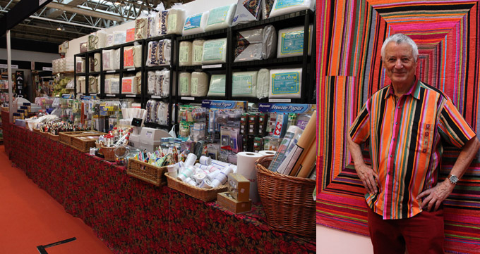 The Cotton Patch stand at the Festival of Quilts, and Kaffe Fassett with his Striped City Quilt